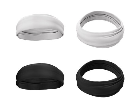 Headband, buff, turban, bandana in white and black. Headgear for sports, fitness. Hair accessory. 3d illustration template, mock up for design, logo, brand. Front and back view.