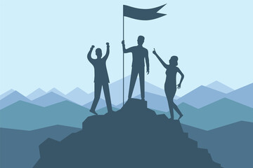 Climbing to the top of the mountain. A group of climbers climbed to the top of the mountain with a flag. Vector illustration banner mountain climbing and active tourism.