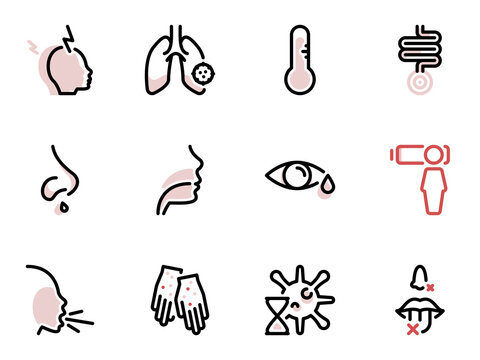 Set of black vector icons, isolated against white background. Illustration on a theme The main symptoms of respiratory illness