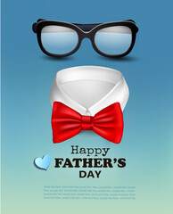 Happy Holiday Fathers Day Background With Red Bow Tie and Glasses. Vector.