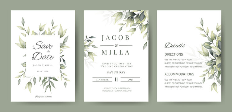 wedding invitation card set template design with watercolor greenery leaf and branch