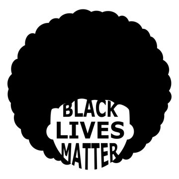 illustration of abstract black lives matter emblem. poster with black man or woman person with afro