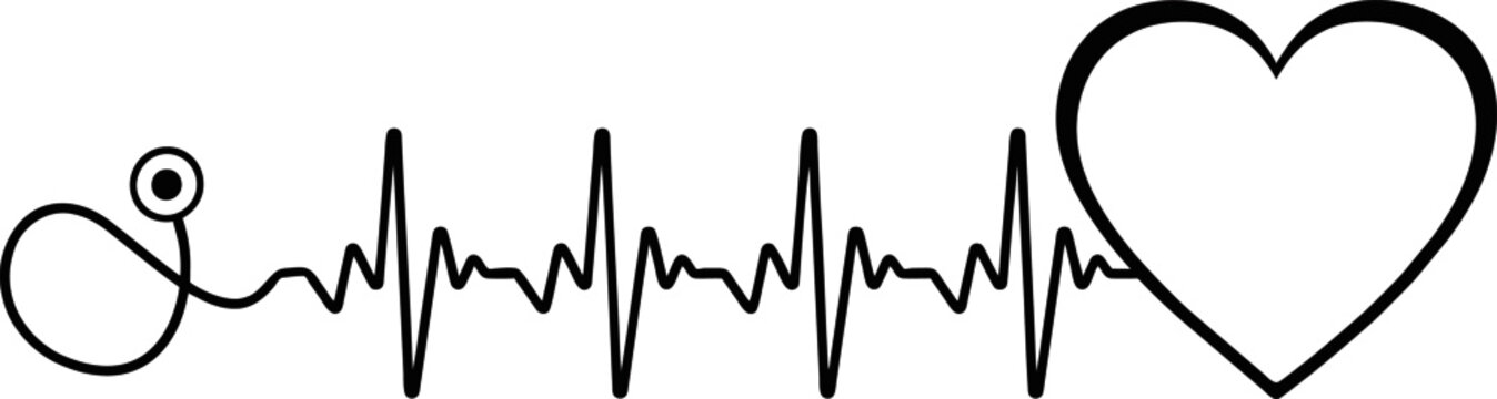 Heartbeat SVG, Heartbeat stethoscope svg, heart beat png, cardiology svg, ekg svg, heart beat silhouette, doctor svg, medical sign