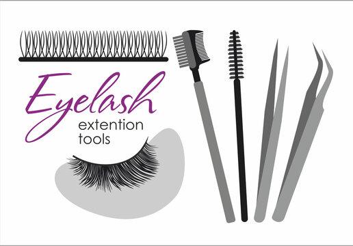Eyelash extension tools. Vector set of eyelashes, patches, brushes and tweezers