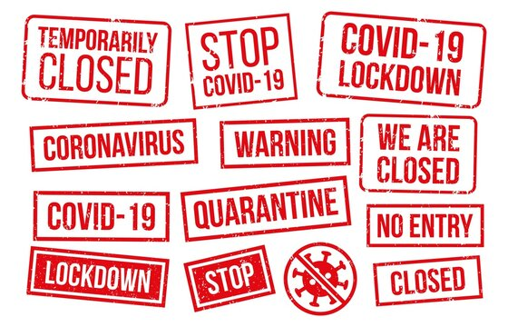 Covid-19 stamps collection, red texture. Vector epidemic lockdown, temporarily closed, no entry zone, infectious quarantine illustration