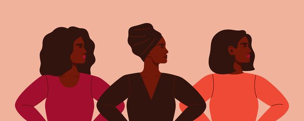 Three strong African women stand together. Concept of fighting for equality and female empowerment movement. Vector horizontal banner.