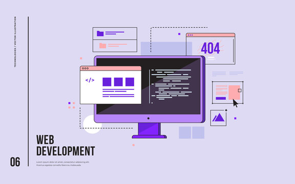 Concept of web development, programming, coding and web design. Monitor with program code on screen and open web pages. Digital industry. Innovations and technologies. Vector flat illustration.