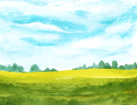 watercolor abstract landscape with clouds on blue sky and green grass. hand painted background