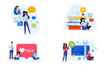 Wall Mural - Flat design style illustrations of social media, networking, online education, website and app development. Vector concepts for website banner, marketing material, business presentation.