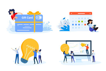 Wall Mural - Flat design style illustrations of gift card, startup, big idea, project management, event . Vector concepts for website banner, marketing material, business presentation, online advertisin
