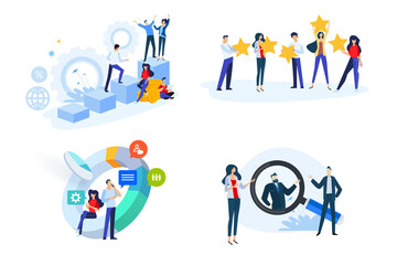 Flat design style illustrations of startup, business plan, star rating, market research, Human Resources. Vector concepts for web banner, marketing material, business presentation, online advertising.