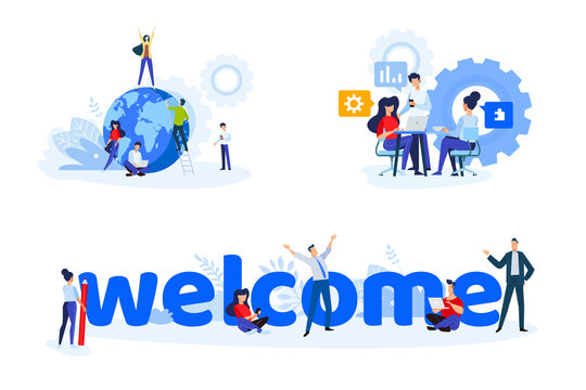 Flat design style illustrations of startup, project launch, team management, welcome. Vector concepts for website banner, marketing material, business presentation, online advertising.