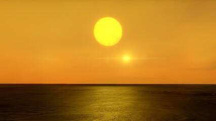Foto op Aluminium Koraal sunset over the sea