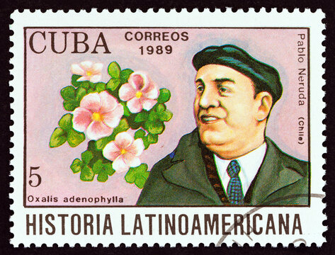 Pablo Neruda and Oxalis adenophylla from Chile (Cuba 1989)