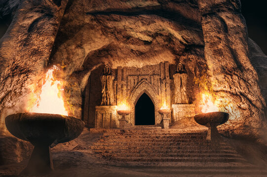 3d illustration fantasy temple entrance with skeleton monk statues and torches in desert cave.