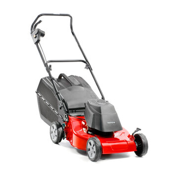 Red Lawn Mower Isolated on White Background. Gas Lawnmower Machine. Side View of Red Grass Cutter. Garden Power Tool Equipment. Modern Gasoline Petrol Powered Rotary Push Mower