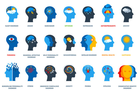 Set of psychological problems concept on white background. Mental disorders, illnesses and psychiatry. Human head flat icons. Depression, bipolar and ocd psychology logo.