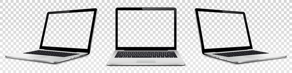 Laptop mock up with transparent screen isolated