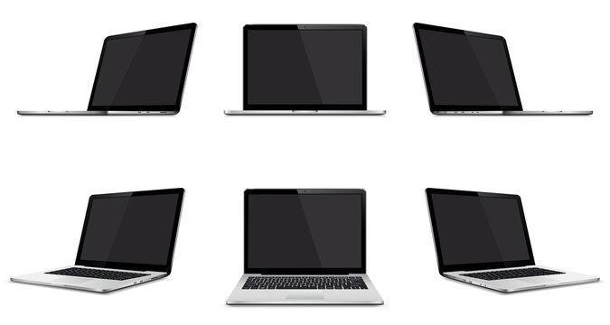 Set of modern laptop with blank screen isolated on white background