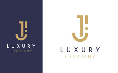 Premium Vector J Logo in two colour variations. Beautiful Logotype design for luxury company branding. Elegant identity design in blue and gold.