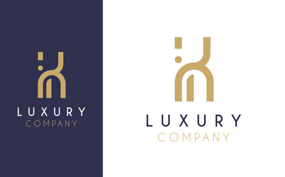 Premium Vector K Logo in two colour variations. Beautiful Logotype design for luxury company branding. Elegant identity design in blue and gold.