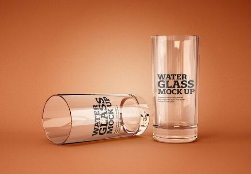 Realistic Water Glass Mockup