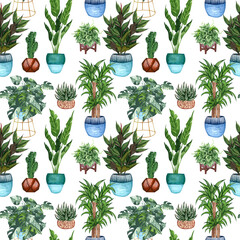 Watercolor Seamless pattern of different house plants. Hand drawn indoor green plants in flower pots. Decorative greenery backdrop perfect for fabric textile, scrapbooking or wrapping paper.