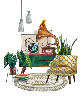60-s interior bohemian background with mid-century modern furniture, Interior Decor Scene.Cozy living room with houseplant, yellow patterned armchair,pillows.Watercolor illustration.Housewarming print