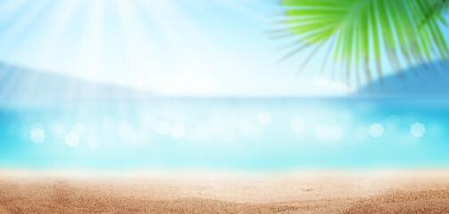 Summer tropical sea, sunny sky and sand beach