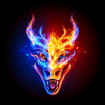 Fire Dragon Head in Blue and Red Flame on the Dark Background. Fire Creature Logo For Your Product