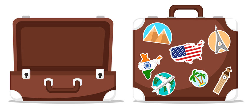 Open and closed suitcase in stickers. Travel suitcase