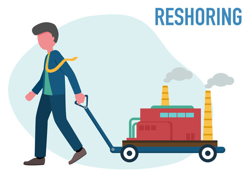 Reshoring concept. Character of business man carrying factory come home. Increased protectionism. Self-sufficiency. Automated supply chain. Avoid production chain disruption. Local production.
