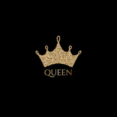 Trendy lettering Queen with gold crown image for print