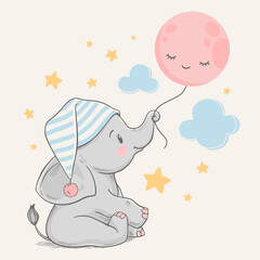 Hand drawn vector illustration of a cute baby elephant in a sleeping cap, holding the moon with his trunk.
