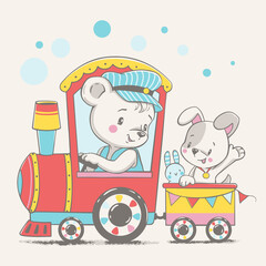 Vector illustration of a little bear and puppy, traveling in a toy locomotive.