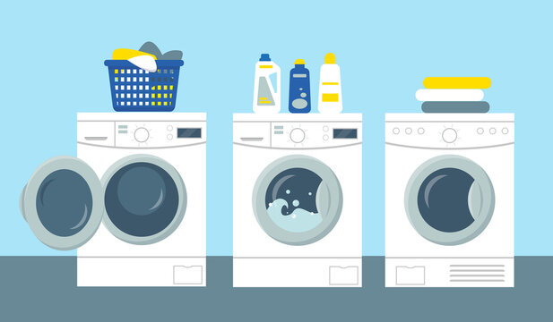 Washing and drying machines vector illustration.