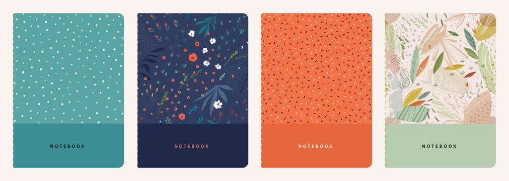 Trendy covers set. Cool abstract and floral design. Seamless pattern and mask used, easy to re-size. For notebooks, planners, brochures, books, catalogs etc.