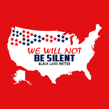 America map in white color on red background. The blue and red colored we will not be written on the map. There are red and blue stars on the map. Black lives matter.