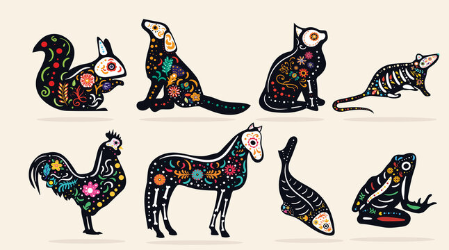 Set of eight pet Dia de Muertos, or Mexican Day of the Dead, designs with intricate colorful patterns for different animals, colored vector illustration
