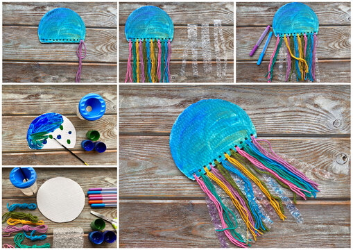Instructions step by step how to make a jellyfish from paper, cardboard. Children's craft.
