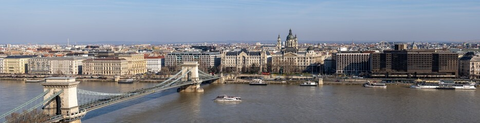 Panoramic view of of Szenchenyi Chain bridge over Danube river in Budapest winter
