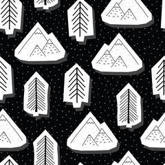 Trees and mountains black and white seamless vector pattern. Doodle trees and mountains in the snow sticker 3d papercut style nature background. Use for fabric, wrapping, packaging, Christmas