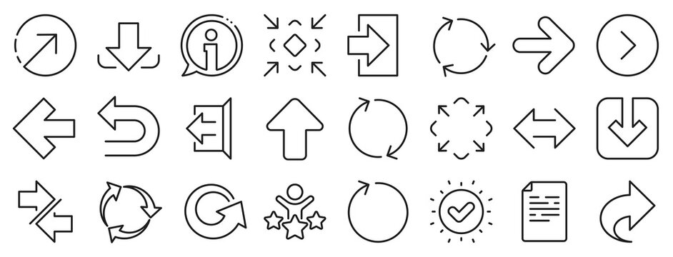 Set of Download, Synchronize and Recycle icons. Share arrow icons. Undo, Refresh and Login symbols. Sign out, download and Upload. Universal arrow elements, share, synchronize sign. Vector