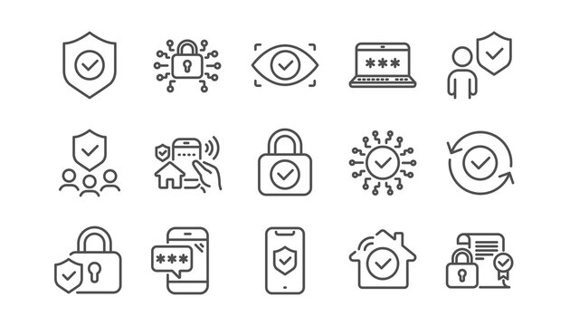 Security line icons set. Cyber lock, unlock, password. Guard, shield, home security system icons. Eye access, electronic check, firewall. Internet protection, laptop password. Linear set. Vector