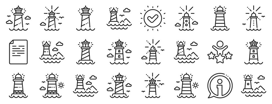 Searchlight tower with seagull for marine navigation of ships. Lighthouse line icons. Sea pharos, lighthouse or beacon icons. Ocean waves, nautical building, marine house. Vector