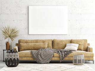 Home interior mock-up poster on a concrete wall, sofa and decor in Living room, 3d render, 3d illustration