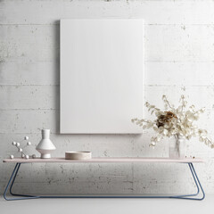 Home interior  mock-up poster on white concrete wall with home decoration, Scandinavian design, 3d render, 3d illustration