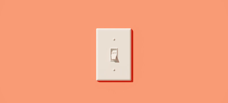Minimal composition for energy saving concept. White light switch in the off position with coral color background. 3d rendering illustration.