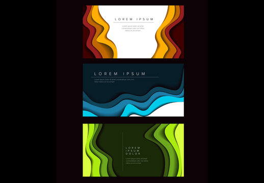 Banner Layouts with Layered Paper Cutout Borders