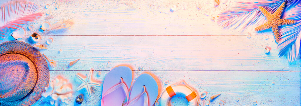 Summer Minimal Design With Beach Accessories - Teal And Orange Colors Gradient